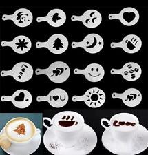 16Pcs  Mold Stencil Coffee Milk Cake Cupcake Stencil Template Coffee Barista