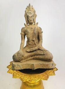 Antique Cambodia Khmer Empire God Buddha Statue Sculpture Meditation Thailand