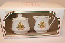 "Vintage Jay Import ""Merry Christmas"" Fine Porcelain Sugar and Creamer Set NEW"