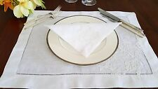 Linen Place mat  with hemstitch and French lace. 1 piece. Wedding setting.