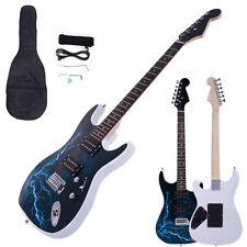 New Black White Lightning Beginner Practice Right-Handed Electric Guitar Set