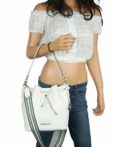 Michael Kors Eden Medium Bucket Shoulder Leather Bag Black White Carnation $398
