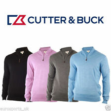 Wool Blend Patternless Zip Neck Jumpers & Cardigans for Men