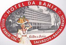 Brasil Salvador Hotel Da Bahia Vintage Luggage Label sk1331