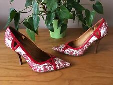 Ladies Miss Sixty red stitch embroidered cream leather court shoes UK 3 EU 36