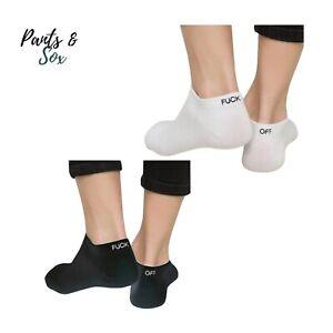 Mens Custom Funny Ankle Socks Black White Novelty F**k Off Word Socks Gift