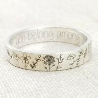 925 Silber Handgefertigte Geschnitzte Blumen Pflanzenring Damenschmuck Größe6-10