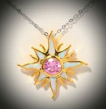 White Opal Pink Topaz Silver Yellow Gold Sun Pendant Necklace