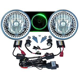 """7"""" HID Green LED Halo Ring Angel Eye Headlight 6000K 6K Light Lamp Bulb Pair 501"""