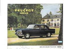 PEUGEOT 404 BERLINE GRANDE TOURISME 404  SALES BROCHURE 1963 FRENCH LANGUAGE