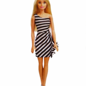 Mattel Barbie Doll Blonde Striped Dress Heels Black White