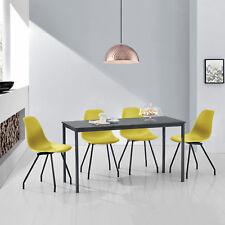 [en.casa] MESA de Comedor Con 4 sillas gris / COLOR MOSTAZA 140x60cm cocina