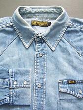 Lee Western Denim Shirt Men's Large XL Extra Blue Pearl Snap Buttons # LSHz450
