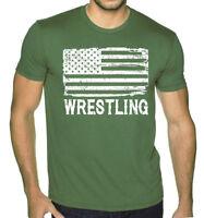 Men's Wrestling American Flag Military Green T Shirt MMA Fighting Wrestle USA US