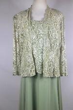 KAREN MILLER 2 PC Formal Long Gown w/Jacket Mint Green Wedding - Plus Sz 14