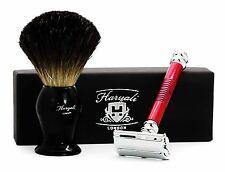 Butterfly Style Red DE Safety Razor With Black Badger Hair Men's Shaving Brush.