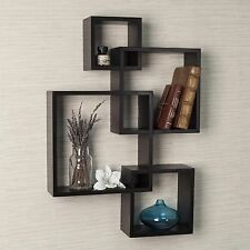 Wall Shelves Floating Intersecting Cubes Book Shelf Espresso Boxes Storage New