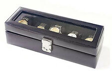 Mens Leather Watch Box 5 Slot Storage Case Leather Glass Top Jewelry Display Box