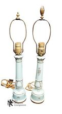 Antique Porcelain Empire Style Accent Lamps Turquoise W/ Gold Trim Flowers Table