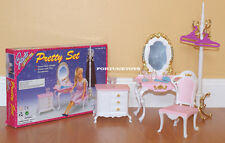 NEW GLORIA DOLL HOUSE FURNITURE Pretty Vanity With Coat Stand Playset (2315)