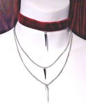 BLOOD FANG CHOKER red velvet silver spike stake chains necklace vampire goth #U2