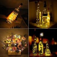 5x 20 LED Weinflasche Kork String Licht Flaschenlichter Lichterkette Party Deko