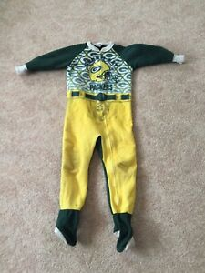 Vintage Green Bay Packers Team NFL Youth Body Suit Full Zip Pajamas Size 6