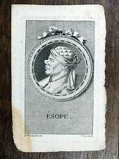 GRAVURE 18e s. Portrait Ésope  - F. Beyssent d'après un dessin de Mlle Reydellet