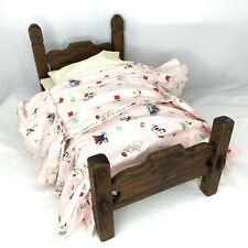 1950s Handmade Wooden Doll Bed Pink Bedspread Golden Book Fabric