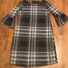 Ladies Size 10 Check Wide Sleeved Flare Arms Dress From Dorothy Perkins Vgc