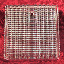 """Lot of 4 Vintage/Antique Clear """"Deeply Ribbed"""" Glass Tiles 6"""" X 6"""""""