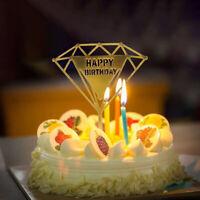Creative Decor Cupcake Flag Diamond Shape Happy Birthday Acrylic Cake Topper