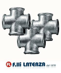 """Cross Cast Iron Malleable Galvanized Various Sizes From 1/2 """" 3/4 """" 1 """" 1/4"""