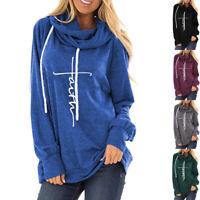 Women Long Sleeve Faith Letter Print Hoodie Sweatshirt Loose Pullover Tops Coat
