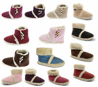 WOMENS LADIES GIRLS COOLERS FUR LINED WARM COSY SLIPPERS ANKLE BOOTIES UK 3 - 8