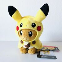 Pokemon Center Exclusive - Eevee Wearing Pikachu Cape Poke Plush Figure NEW 2020