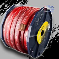 0 Gauge 20ft RED Power OFC Wire Strands Copper FLAT  Marine Cable 1/0 AWG