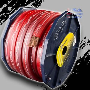 0 Gauge 20ft RED Flat Power 100% OFC Wire Strands Copper Marine Cable 1/0 AWG