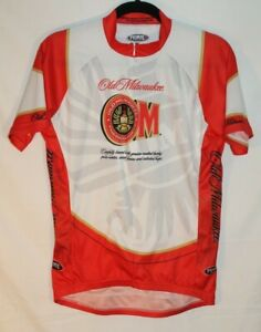 Old Milwaukee Beer - Primal Cycling Bike Jersey Shirt Red & White Men's Size Med