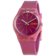 Swatch Sneaky Peak Pink Dial Ladies Silicone Watch GP701