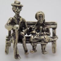 Vintage Argent Massif Italien Fait à la Main Âgée Couple Figurine Poinçon Mini