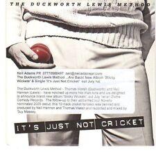(EA537) The Duckworth Lewis Method, It's Just Not Cricket - 2013 DJ CD