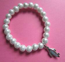 Christmas Faux White Pearl Glass Bead Silver Penguin Bracelet New in Gift Bag
