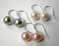 925 ECHT SILBER *** Perlen Ohrringe Größe / Farbe nach Wahl