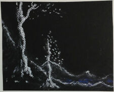 """""""Landscape at Dawn"""" original drawing with oil pastel on black paper"""
