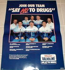 Valvoline motor oil poster Neil Bonnett AJ Foyt 1987 vintage Say NO to Drugs New