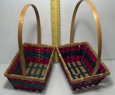 """Pair of  wooden Wicker weaved Easter or gift baskets 5"""" x 7"""" Green & red design"""