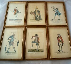 Replica 18th C Macaroni Prints 6 Framed caricatures by Colonial Williamsburg VA
