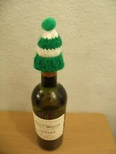 Hand Knitted Christmas Wine Bottle Bobble Hat   (green)