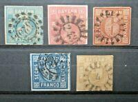 GERMANIA ANTICHI STATI BAVIERA 1850/62 N° 5 FRANCOBOLLI TIMBRATI USED LOT (C.4)